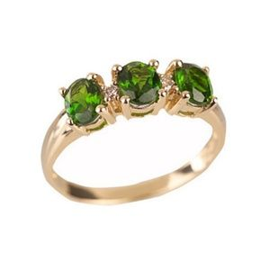 Russian Diopside Three Stone Oval Ring 14k Gold